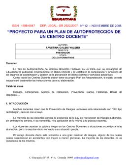 proyecto para un plan de autoprotección de un centro docente