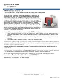 SWIFT Wireless Versión 2.0 Tecnología contra Incendios