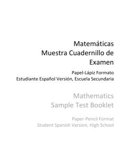 Matemáticas Muestra Cuadernillo de Examen Mathematics Sample