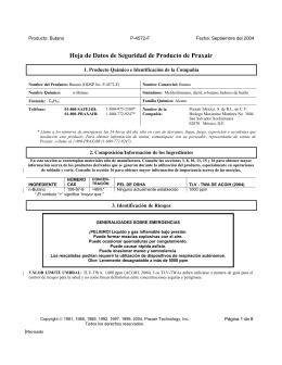 Butano HDS (Hoja de Datos de Seguridad) P-4572-F