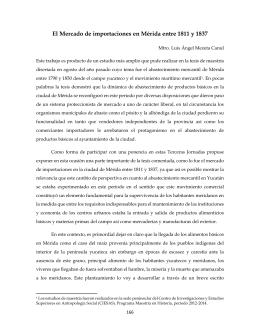 El Mercado de importaciones en Mérida entre 1811 y 1837