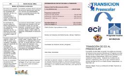 TRANSICIÓN DE ECI AL PREESCOLAR