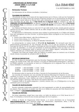 Circular informativa septiembre 2009