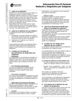 Información Para El Paciente Radiación y Diagnóstico por Imágenes