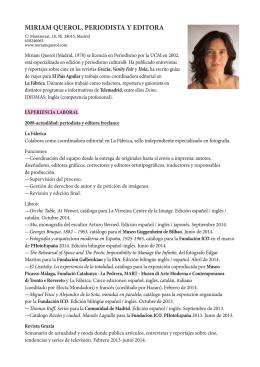 MIRIAM QUEROL, PERIODISTA Y EDITORA