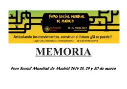 Memoria FSMM 2014 - Foro Social Mundial de Madrid