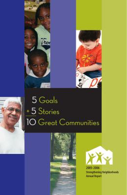 5 Goals + 5 Stories 10 Great Communities