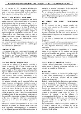 condiciones generales del contrato de viajes combinados