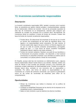 13. Inversiones socialmente responsables