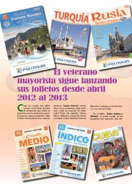 El veterano mayorista Politours y sus folletos 2012/2013