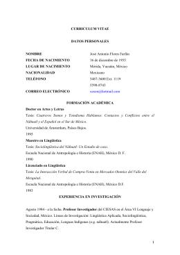 Descarga el Curriculum Vitae en español. PDF 259Kb