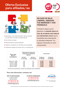 Oferta Exclusiva para afiliados/as EN CASO DE BAJA LABORAL
