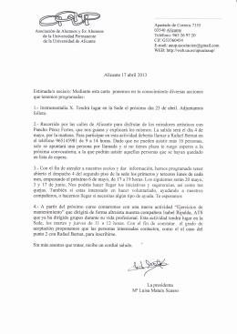 Carta de la Sra Presidenta de la Asociación del 17 de abril