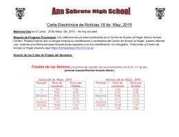 Carta Electrónica de Noticias 18 de May, 2015