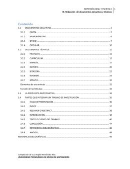 III. Redacción de documentos ejecutivos y técnicos