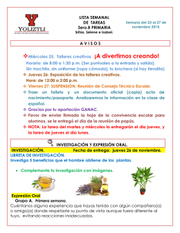 LISTA SEMANAL DE TAREAS 3ero.B PRIMARIA AVISOS Miércoles