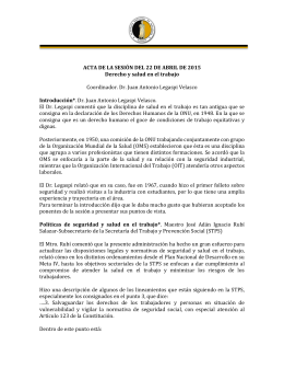 ACTA DE LA SESIÓN DEL 22 DE ABRIL DE 2015 Derecho y salud