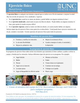 Ejercicio físico - UNC Medical Center