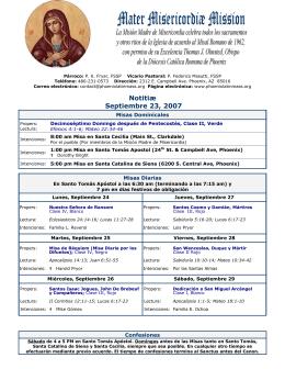 Notitiæ Septiembre 23, 2007 - Mater Misericordiae Mission