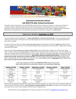Fall 2010 ASE Catalog - Claremont Immersion Elementary School PTA