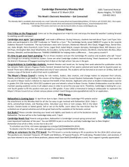 School News PTO News - Cambridge Elementary PTO