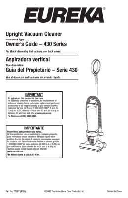Upright Vacuum Cleaner Owner`s Guide – 430 Series