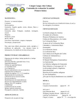 Colegio Campo Alto Colinas Contenido de evaluación 3a unidad