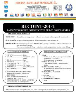 becoint-201-t barniz ecológico intumescente de dos componentes