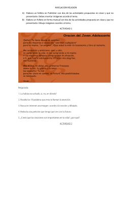 NIVELACION RELIGION A) Elabora un folleto en