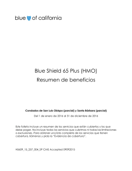 Blue Shield 65 Plus (HMO) Resumen de beneficios