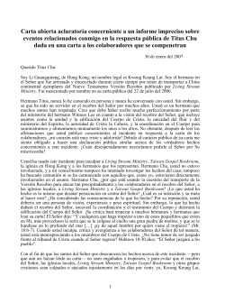 Carta abierta aclaratoria por Kwong Keung Lai