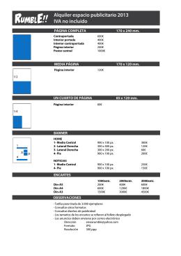 Alquiler espacio publicitario 2013 IVA no incluido