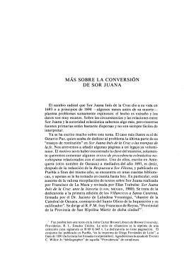 MÁS SOBRE LA CONVERSIÓN DE SOR JUANA