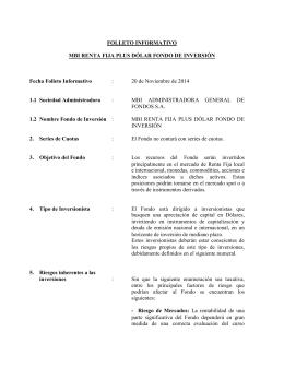 FOLLETO INFORMATIVO MBI RENTA FIJA PLUS DÓLAR FONDO