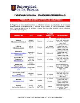 facultad de medicina - programas internacionales