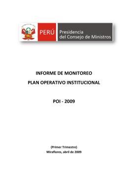 informe de monitoreo plan operativo institucional poi