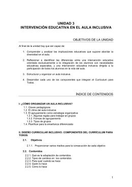 UNIDAD 3 INTERVENCIÓN EDUCATIVA EN EL AULA INCLUSIVA