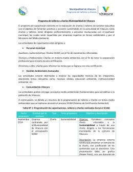 Municipalidad de Vitacura Programa de talleres y charlas Programa