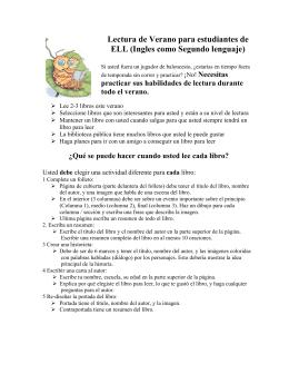 Lectura de Verano para estudiantes de ELL (Ingles como Segundo