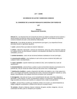 LEY 1.328/98 DE DERECHO DE AUTOR Y DERECHOS CONEXOS
