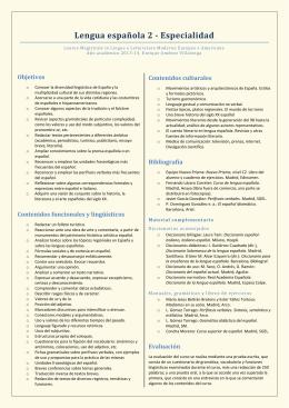 Objetivos Contenidos funcionales y lingüísticos Contenidos
