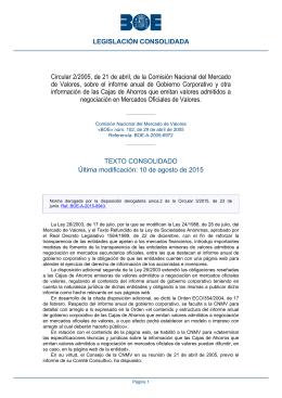 Circular 2/2005, de 21 de abril, de la Comisión Nacional del