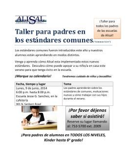 """Taller para padres en los estándares comunes(""""Common Core"""")"""
