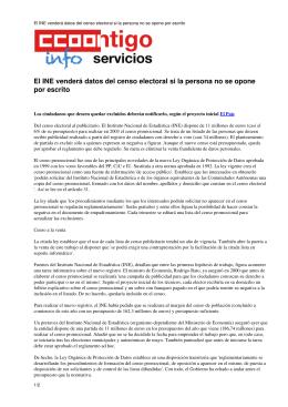 El INE venderá datos del censo electoral si la persona no se opone