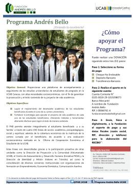 Programa Andrés Bello ¿Cómo apoyar el Programa?