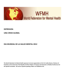depresion: una crisis global dia mundial de la salud mental 2012