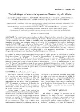 Thrips fitófagos en huertas de aguacate cv. Hass en Nayarit, México