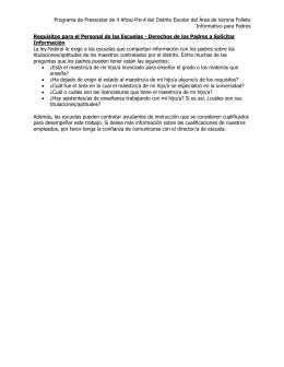 Programa de Preescolar de 4 Años/Pre-K del Distrito - VASD Pre-K