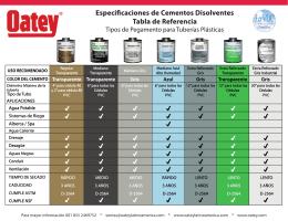Especificaciones de Cementos Disolventes