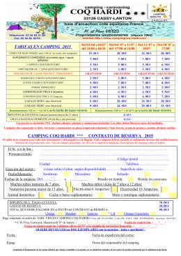 tarifa y formulario de reserva camping